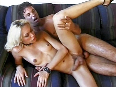 light haired chick Tranny Takes Anal Knobbing