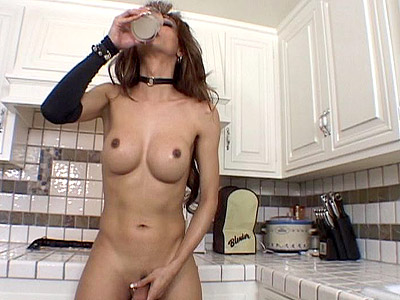Busty Tranny Stroking here is Cock